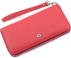 Удобный женский кошелек красного цвета на молнии ST Leather