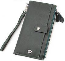 Универсальный кожаный кошелек зеленого цвета под купюры и карточки ST Leather