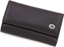 Черная кожаная ключница из натуральной кожи на кнопках ST Leather