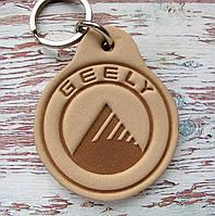 Автомобильный кожаный брелок Geely Джили, фото 1