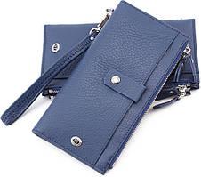 Удобный кожаный женский кошелек с запястным ремешком (под купюры и карточки) ST Leather