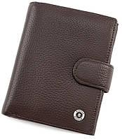 Мужской коричневый кошелек на кнопке BOSTON