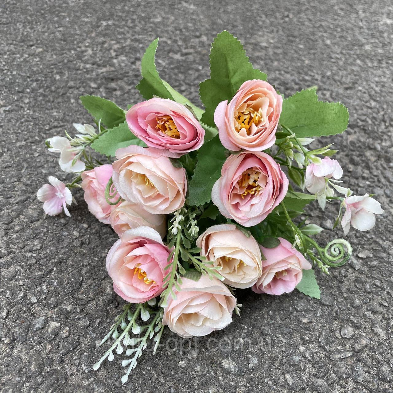 Искусственные цветы букет роза Остин 30см розовый