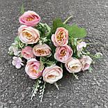 Искусственные цветы букет роза Остин 30см розовый, фото 3