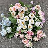 Искусственные цветы букет роза Остин 30см розовый, фото 2