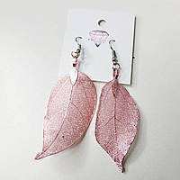 Серьги розовые листочки . Застежка петля
