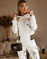 Брючеый костюм з принтом на брюках і кофті в молочному кольорі з капюшоном прогулянковий (р. S - XL) 53mko1671, фото 1