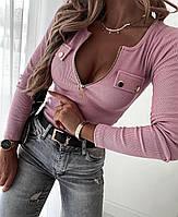 Женская кофта из трикотажа рубчик с молнией на груди и иммитацией кармана (р. 42-48) 53dmde1106, фото 1