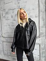 Демисезонная куртка кожанка короткая с отложным воротником и накладными карманами (р. 42-46) 72mku594, фото 1