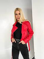 Куртка - косуха кожаная с отложным воротником и ремешками на рукавах женская (р. S-2XXL) 72mku595, фото 1