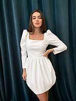 Шкіряне плаття з рукавами-ліхтариками і спідницею балон і квадратним вирізом (р. 42 - 52) 72mpl2054, фото 1