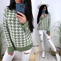 Вязаный свитер с принтом гусиная лапка с манжетами и воротником (р. 42-52) 9dmde1111, фото 1