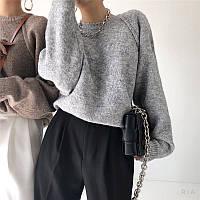 Женский свитер вязаный кроя оверсайз с рукавом регланом (р. 42-46) 77dmde1112, фото 1