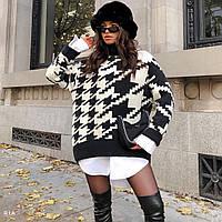 Вязаный свитер туника свободного кроя с принтом гусиная лапка (р. 42-48) 77dmde1114, фото 1