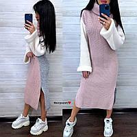 Трехцветное платье вязаное ниже колен с разрезами и широким рукавом, высоким воротником (р. 40 - 58) 9mpl2167