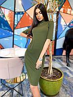 Платье гольф с рукавом до локтя из трикотажа резинка длиной до колен (р. S-M) 8mpl2168, фото 1