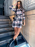 Клетчатое платье - рубашка с поясом на талии короткое (р. 42-46) 8mpl2169, фото 1