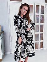 Платье в цветочный принт легкое с завязками на шее и длинным рукавом (р. S - L) 84mpl2171, фото 1