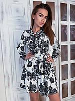 Платье в цветочный принт легкое с поясом короткое и длинным рукавом (р. S - L) 84mpl2172, фото 1