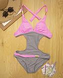 Двухцветный женский слитный купальник р.L, фото 3