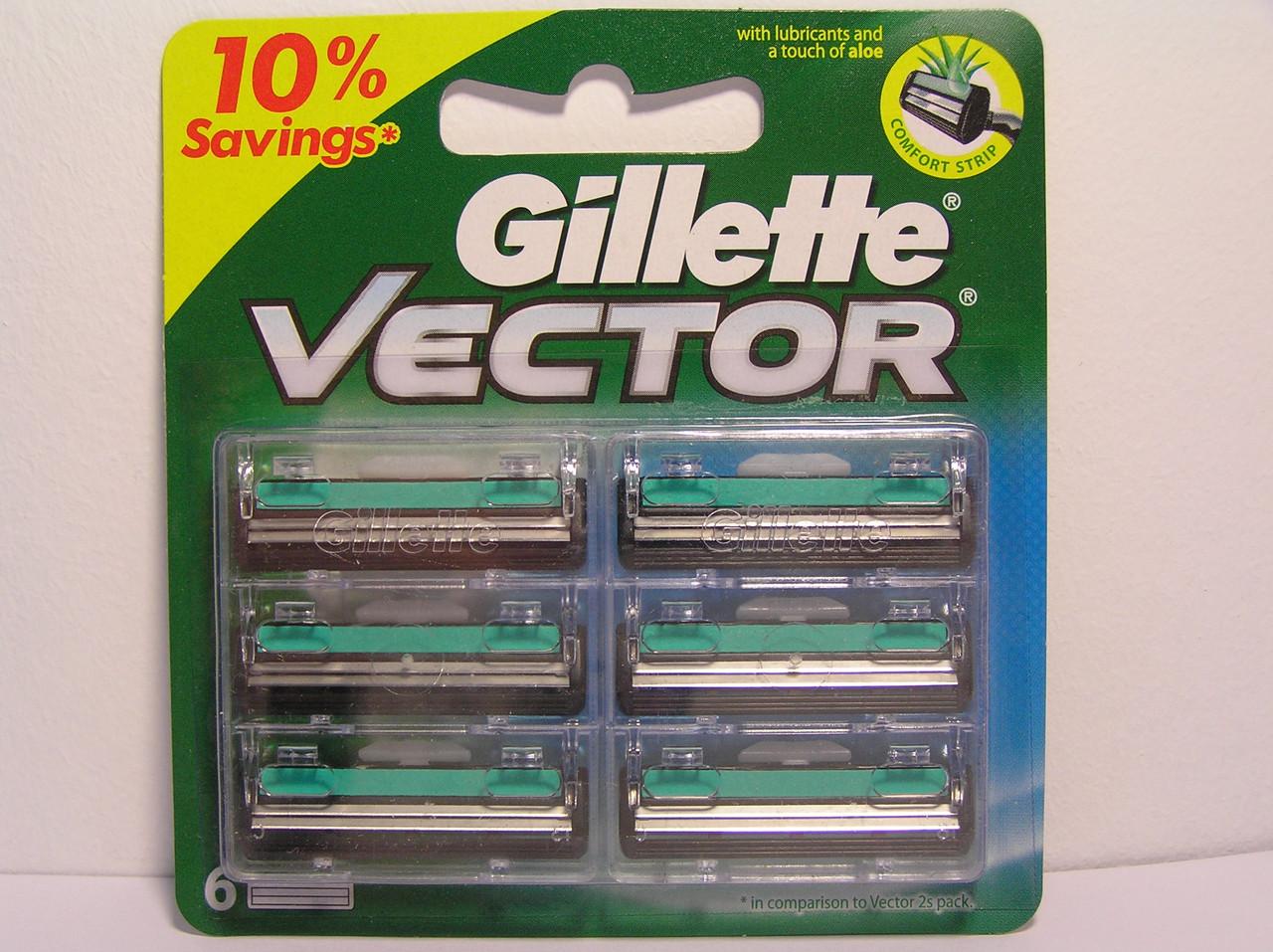 Кассеты для бритья мужские Gillette Vector (Жиллет Вектор+ Слалом плюс  5+1 шт. Оригинал)