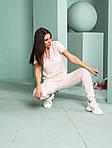 Женский спортивный костюм, тонкая вязка - х/б, р-р универсальный 42-46 (розовый), фото 6