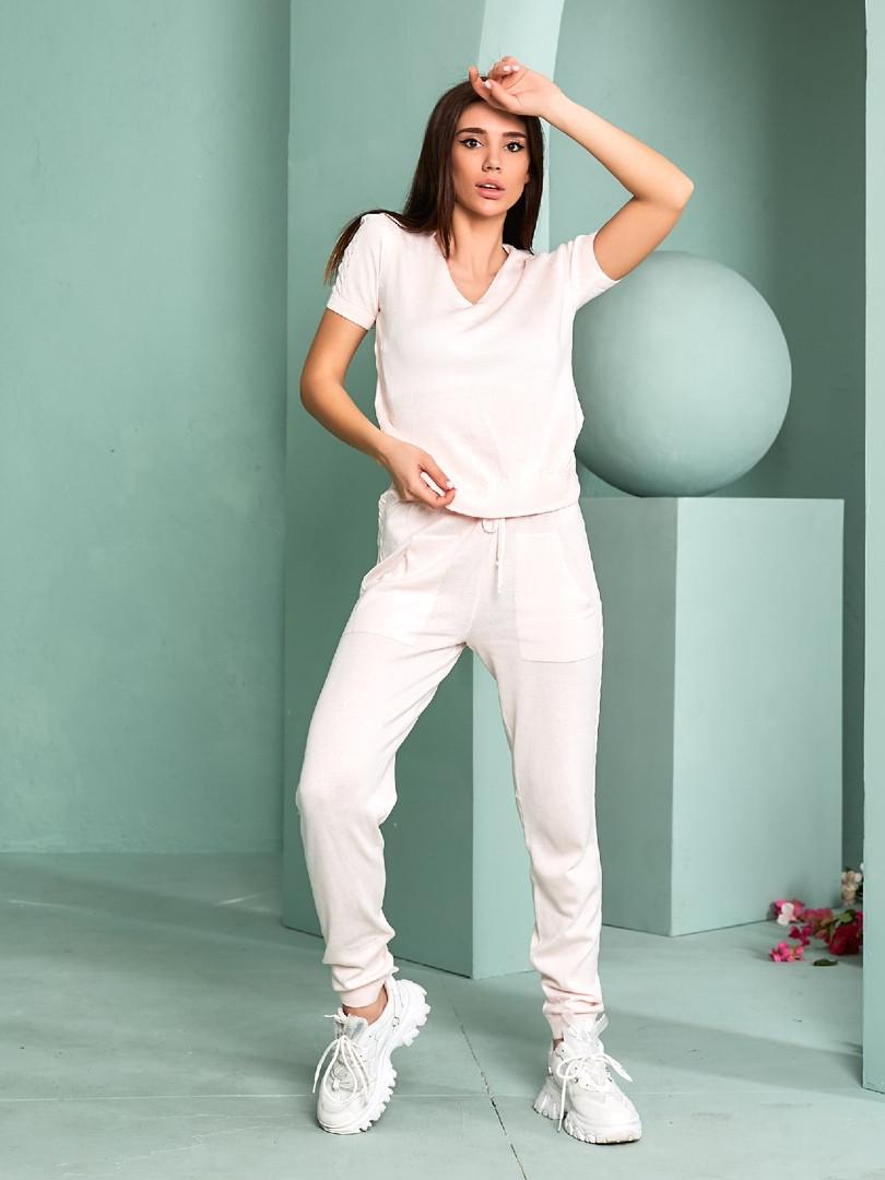 Женский спортивный костюм, тонкая вязка - х/б, р-р универсальный 42-46 (розовый)