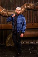 Бомбер мужской на молнии, стильная молодежная ветровка, весенняя куртка синяя, фото 1