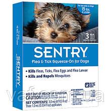 Капли в холку от блох, клещей и комаров для собак Sentry Сентри весом до 7 кг