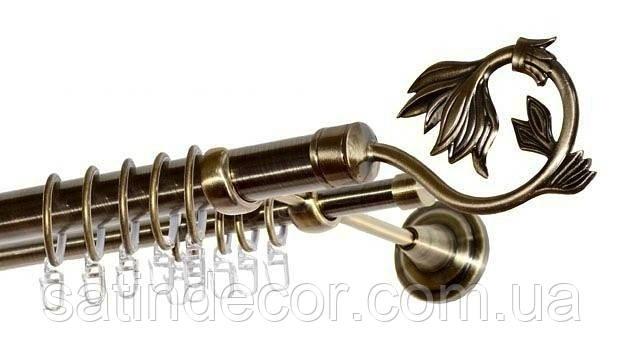 Карниз для штор металевий КРОКУС подвійний 25+19мм 2.4м Античне золото