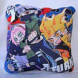 Подушка аніме 40х40 см із змінною наволочкою Наруто, фото 3