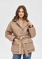 Женская модная стеганая куртка с поясом и накладными карманами капучино