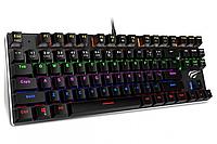 Механическая игровая (геймерская) клавиатура с подсветкой клавиш HAVIT 87 проводная черная сетящаяся RGB клава