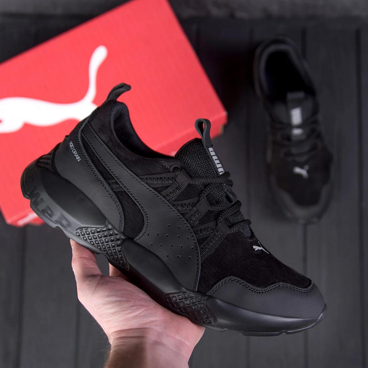 Мужские черные кожаные кроссовки Puma