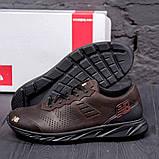 Чоловічі коричневі шкіряні кросівки NB, фото 2
