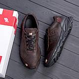 Мужские коричневые кожаные кроссовки NB, фото 3