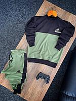 Спортивный костюм мужской без капюшона, турецкая двунитка, комплект для занятия спортом, цвет черный-зеленый