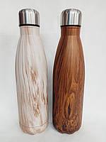 Термос в форме бутылки, корпус и крышка из нержавеющей стали, 500мл ЭКО