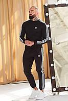 Спортивный костюм Adidas: свитшот-штаны. Черный. Хлопок Двухнитка Мужской Женский Унисекс