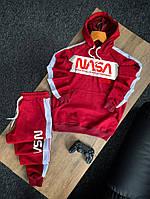 Мужской спортивный костюм, турецкая двунитка, худи с капюшоном и штаны, цвет красный