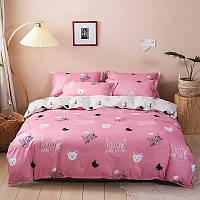 Полуторна постільна білизна Gold рожеве з кішечками