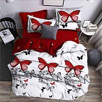 Полуторна постільна білизна Gold червоні метелики