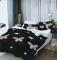 Семейное постельное белье Gold бабочки на черном