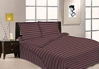Семейное постельное белье Gold коричневое в полоску