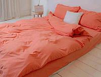 Полуторна постільна білизна Ranforce персикового кольору