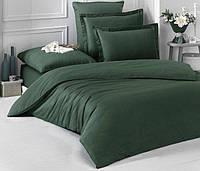 Полуторное постельное белье Ranforce зеленое однотонное