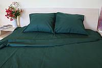 Полуторное постельное белье Ranforce темно-зеленый окрас
