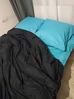 Полуторное постельное белье Ranforce черно-бирюзовое