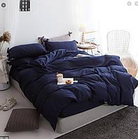 Полуторное постельное белье Ranforce однотонка темно-синяя