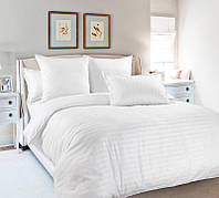 Полуторное постельное белье Ranforce - Белое в полосочку